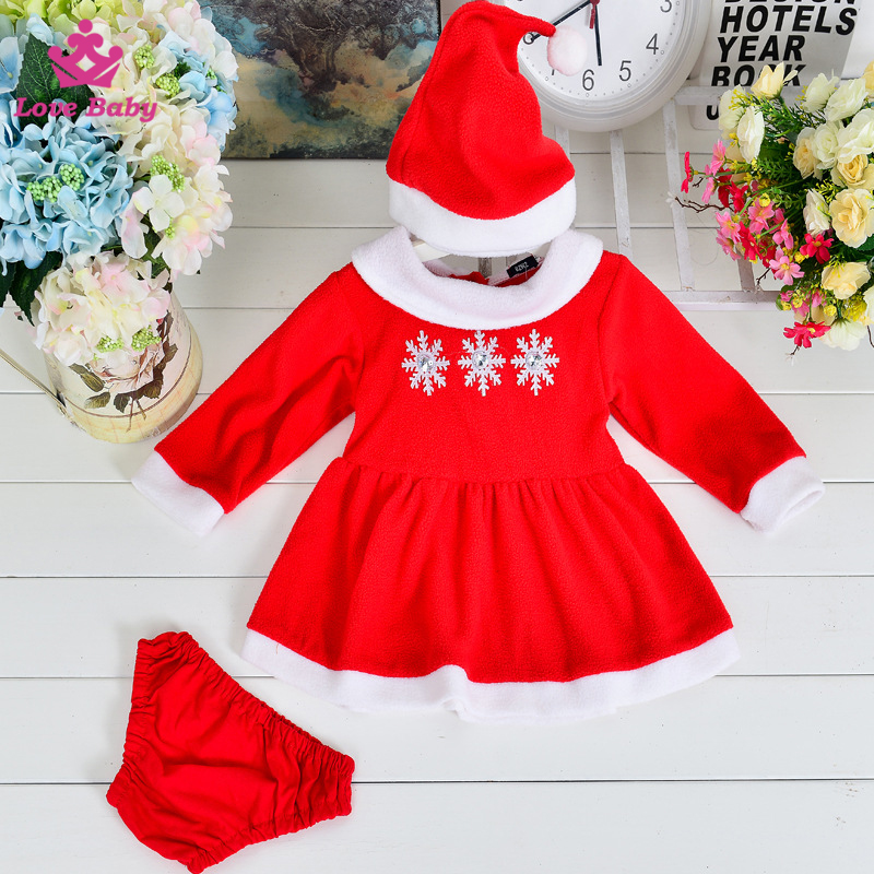 Newest Baby Christmas Dress Red Xmas Snow 3pcs Set Kids Show Dress Hat and Bloomer