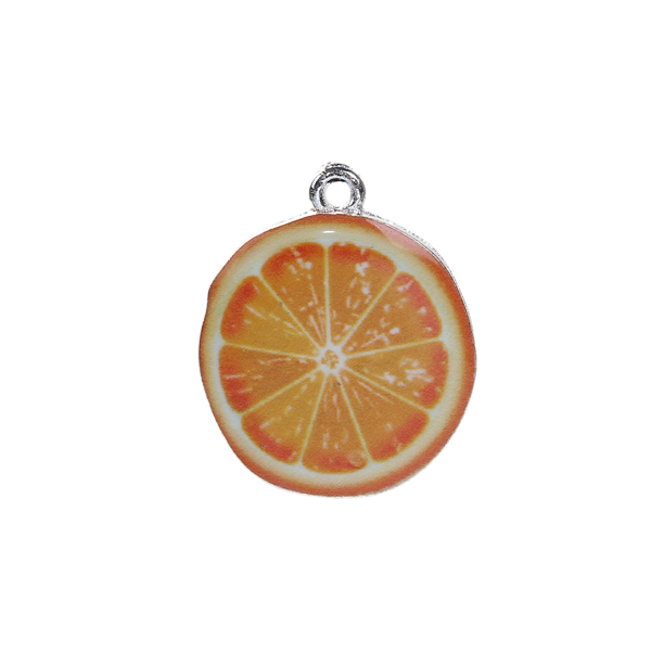Wholesale Zinc Based Alloy Orange Fruit Silver Plated Yellow Enamel Charms