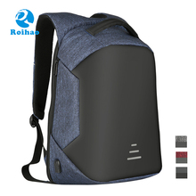 Roihao xiamen newest USB battery charging secret pocket waterproof laptop anti theft backpack