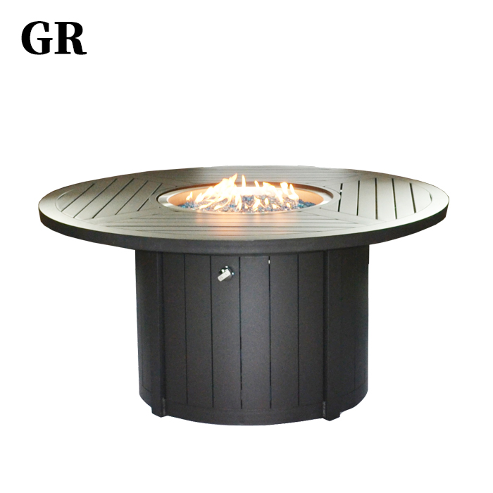 Customized Modern Luxury Outdoor Furniture Aluminium Dining Table Fire Pit Set