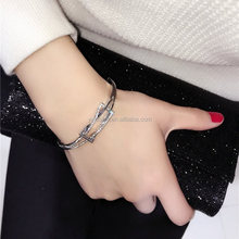 New Fashion Jewellery Pink Crystal Rhinestone Solid Silver Bracelet/Bangle Lady