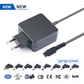 45W portable universal ac laptop adapter battery travel charger with 11 tips 5V USB