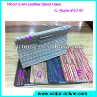 New Wood Grain Leather Stand Case for iPad Air,5 Styles