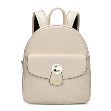 2017 Summer student style genuine leather backpack lining canvas material with rose golden zipper high capacity for women