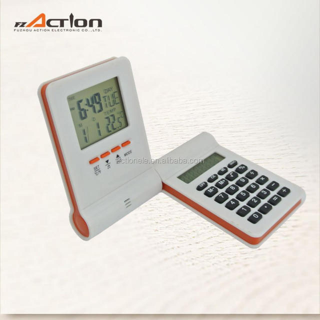 Smart Design Desk Calculator with Digital Alarm Clock 90 Degree Rotation Portable Promotion Clock with Calculator