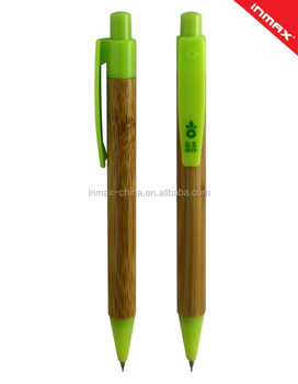 large prict area plastic clip and tip Bamboo Ballpoint mechnical pencil
