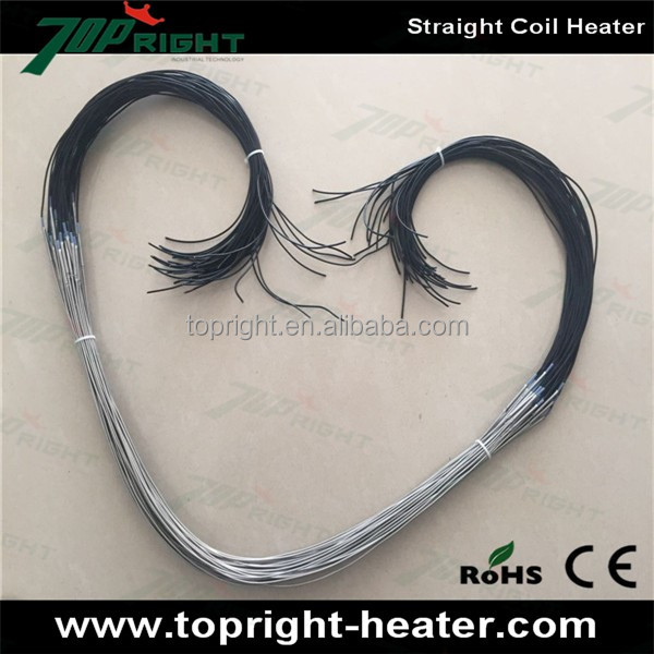 Industrial straight double electric tube double terminal coil heater/hot runner