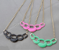 2014 hot sale gold plated colorful enamel chain linked charm necklace