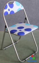 Metal upholstered padded folding chairs with printing design manufacturer