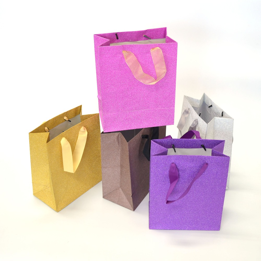 Factory Wholesale Cheap Glitter Film Shopping Paper Bags