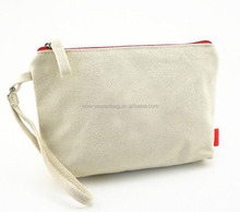 Cheap price reusable promotion blank canvas cosmetic bag with zipper