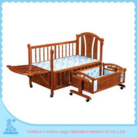 0289B Modern Style Softtextile Carved Teak Wood Baby Swing Cradle Bed