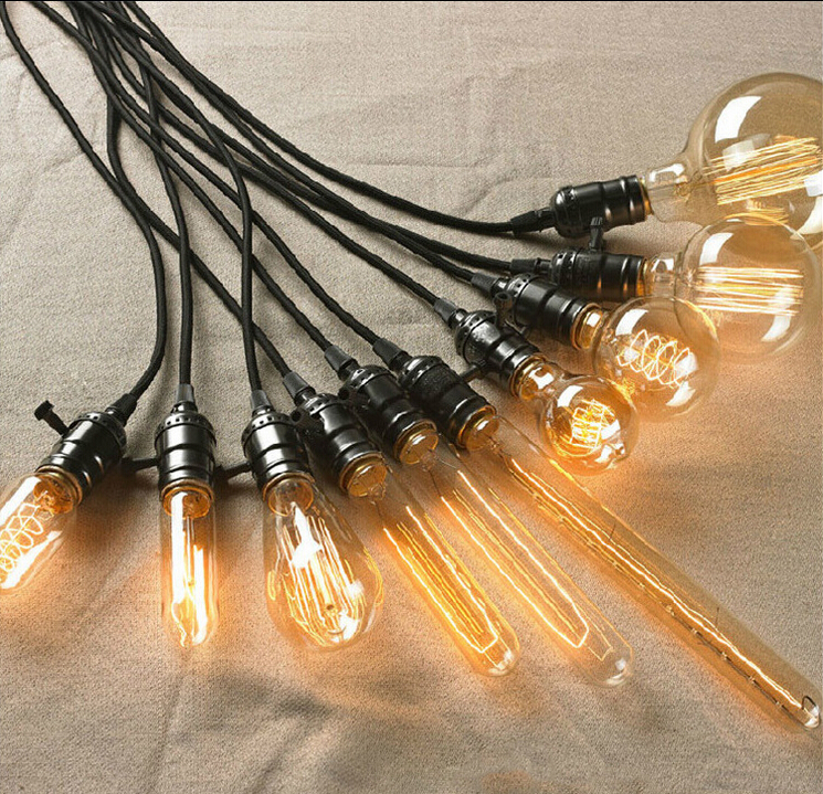 indoor lighting e27 vintage edison bulb 40w spiral led filament light bulb