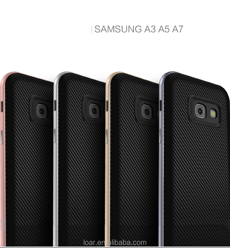 A5 2017 Shell PC+TPU Case with Colored Frame Carbon fiber Protect Silicone Case Back Cover For Samsung galaxy A3 A5 2017 Cases