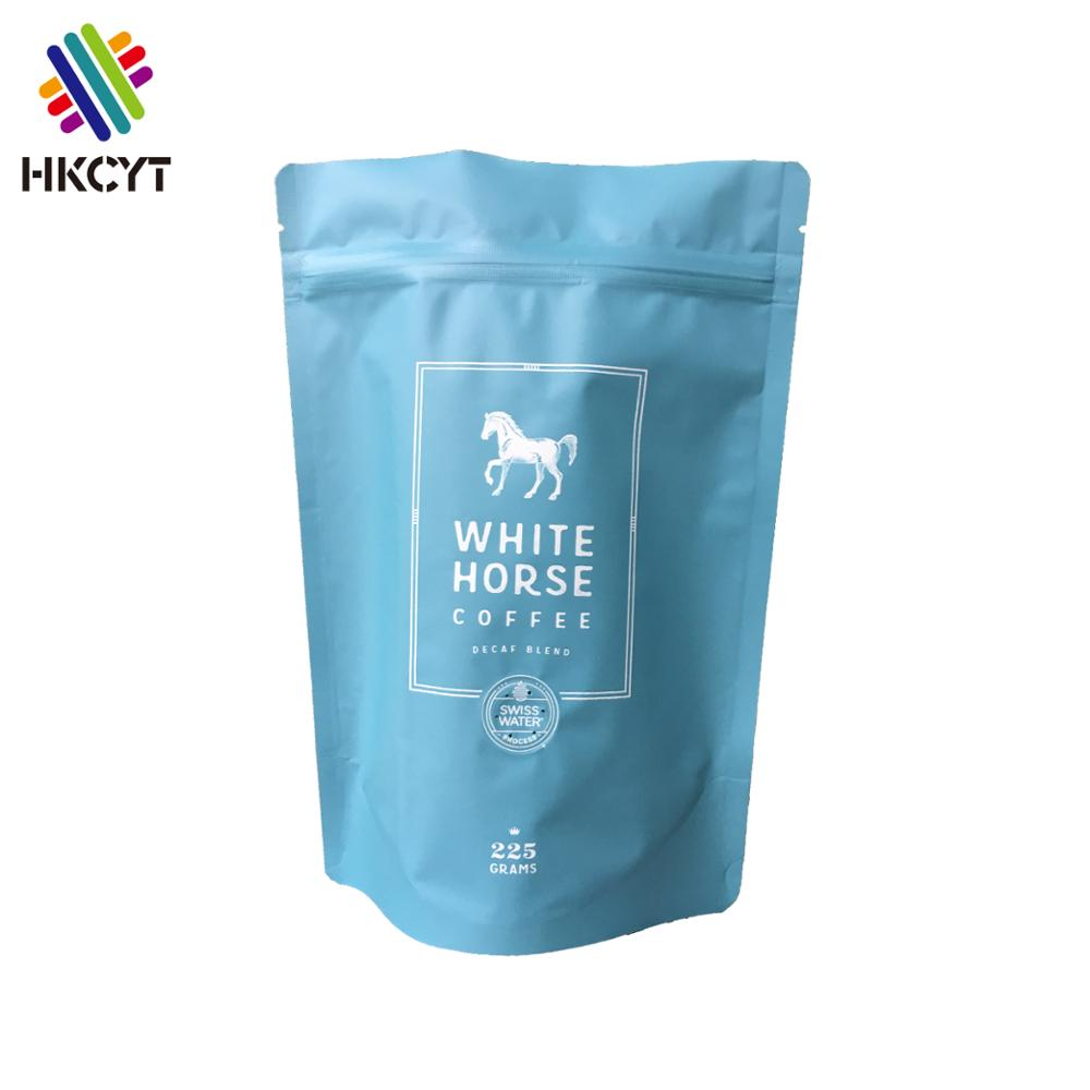 Custom Printed Recloseable Stand Up Blue Color Aluminium Foil 225g White Horse Coffee Bag With Ziplock
