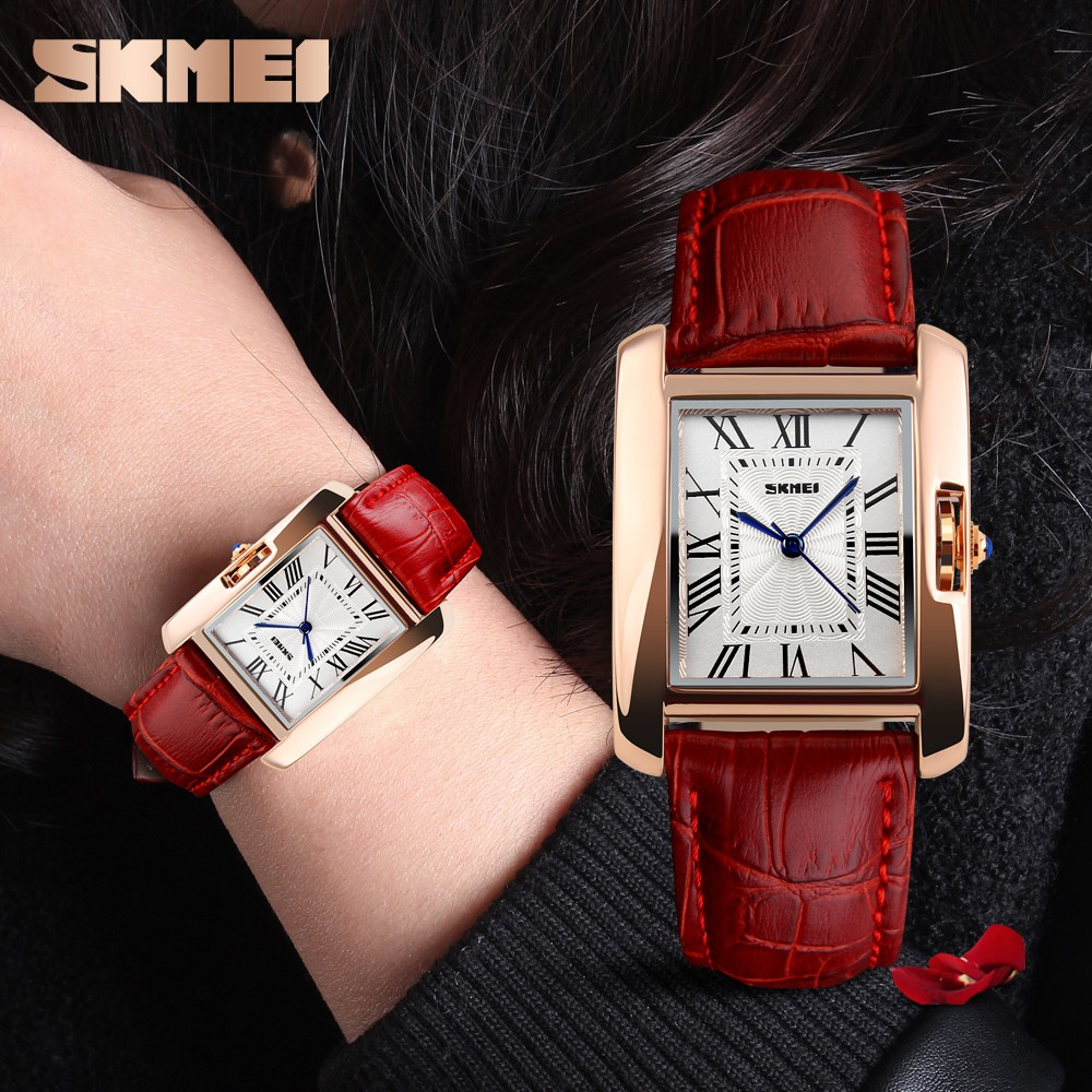 SKMEI 1085 genuine leather strap quartz movement women hand clock pictures of fashion girls watches relojes de mujer
