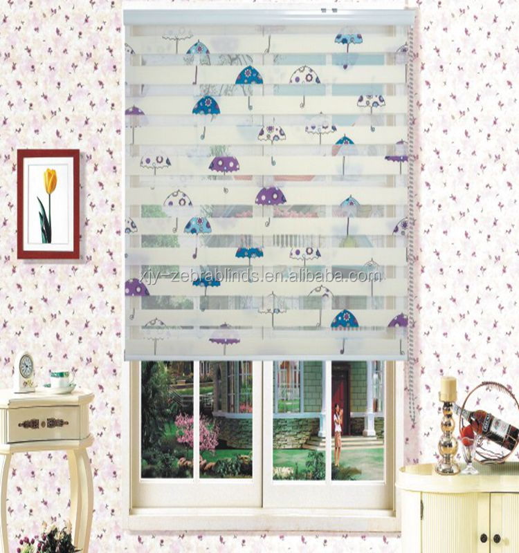 Floral horizontal printed zebra blinds for baby