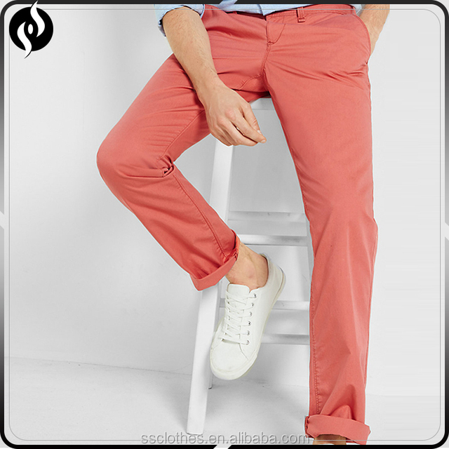 Newest factory cheap price custom color red slim men cotton chino pants