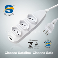 Brazil style smart socket 3PIN 2P+T 3 ways outlet Brazilian strip power with INMETRO certificate
