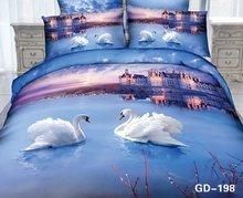 White Swans swimming in the the City of Love 3d bedding ensembles