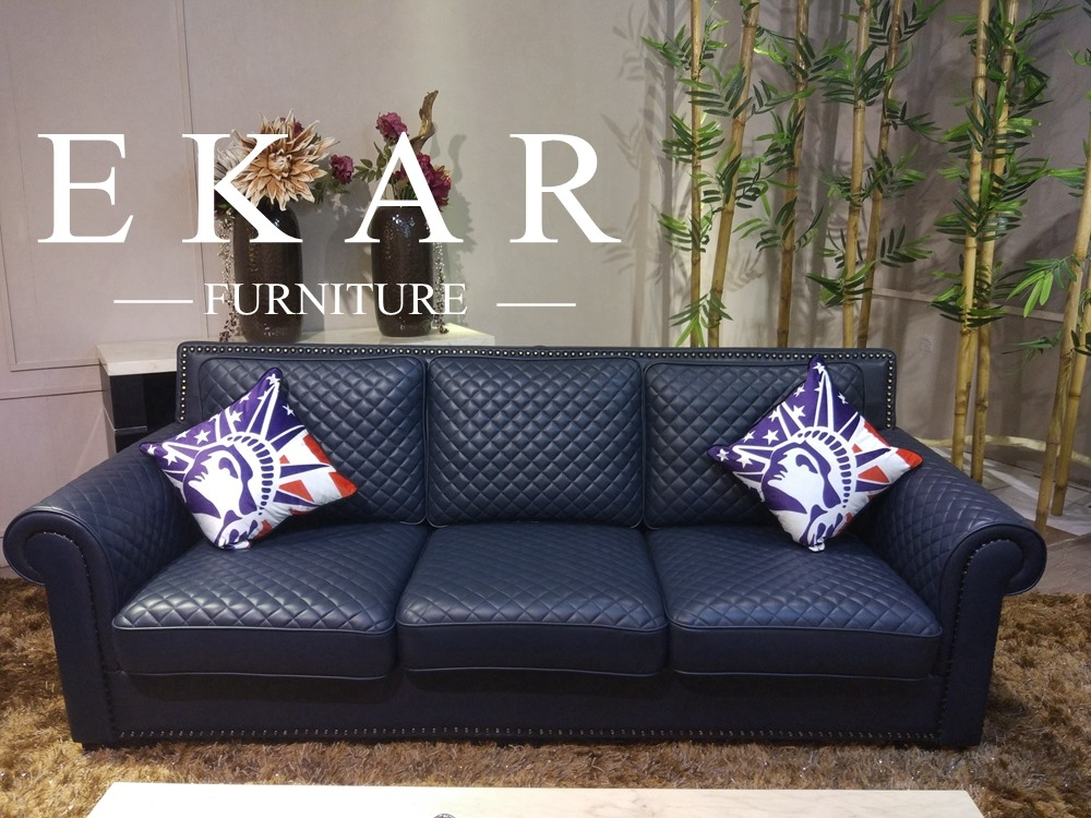 Dark blue leather reclining 3 seat sofa / chesterfield sofa