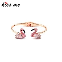 Cute Animal Rose Gold Friendship Girls Bangle Lovely Crystal Swan Bangles
