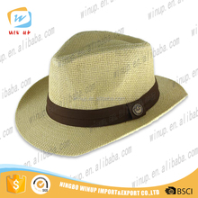 Wholesale Roll up Promptional paper straw hat Top sale Custom Made Fedora Summer Beach Hats Wide Brim paper Panama straw hat