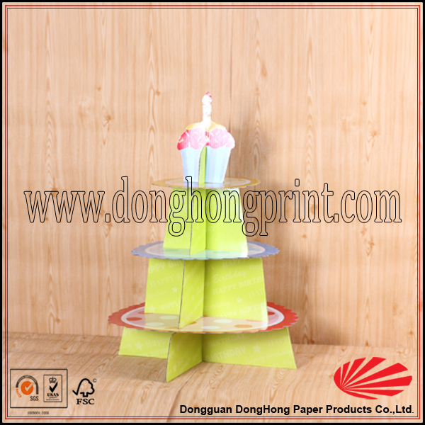 Bulk sale custom made 3 tier cake stand/flat packed paper 3 tier cake stand
