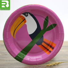 Colorful custom logo party cake disposable bird paper plates