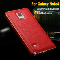 Elegent leather case 2 in 1 metal bumper for samsung galaxy note 4