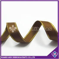wholesale stitched gold edged brown grosgrain ribbon in 1 inch