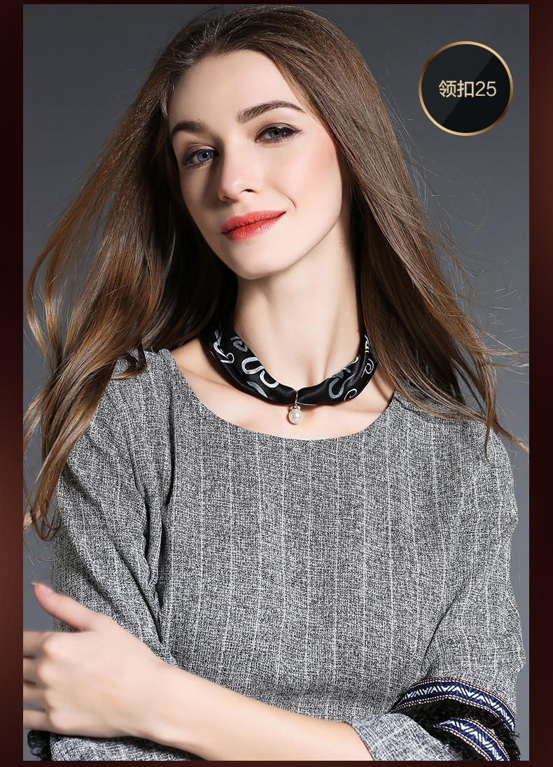 Black silk scarf necklace for women