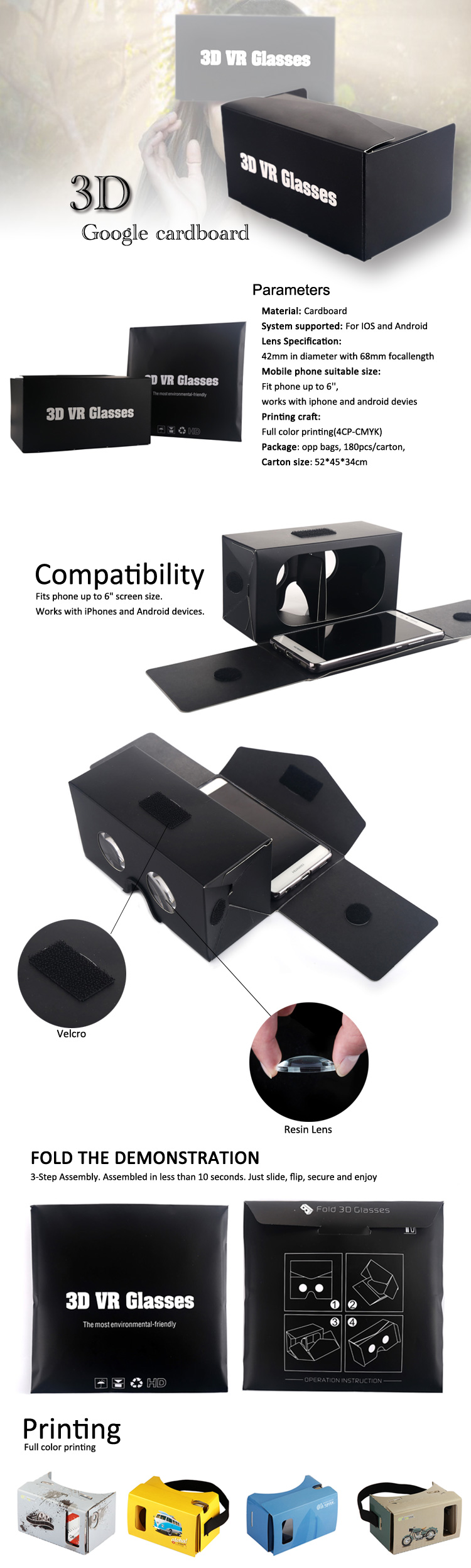 Cheapest Folding VR Box Mini Google Cardboard For 3D Vr Reality Box 3D Glasses 2.0 Virtual Reality User Manual