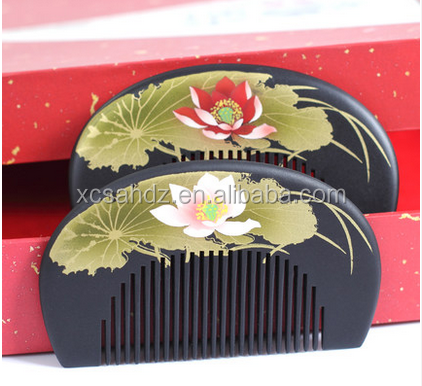 2017 Popular Chinese Wedding Red Paint Boxwood Hair Comb
