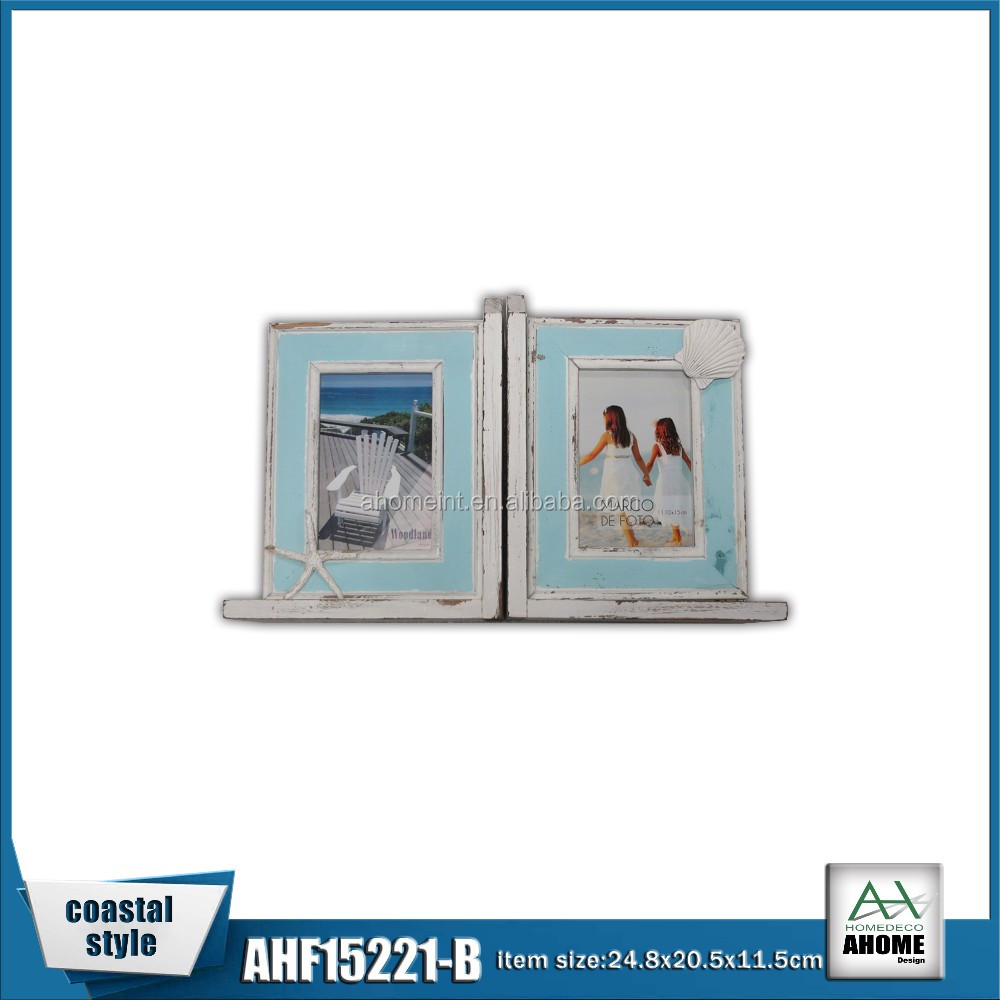 Unique Beach Style Wooden Resin Picture Frame Bookends Insert 5x7
