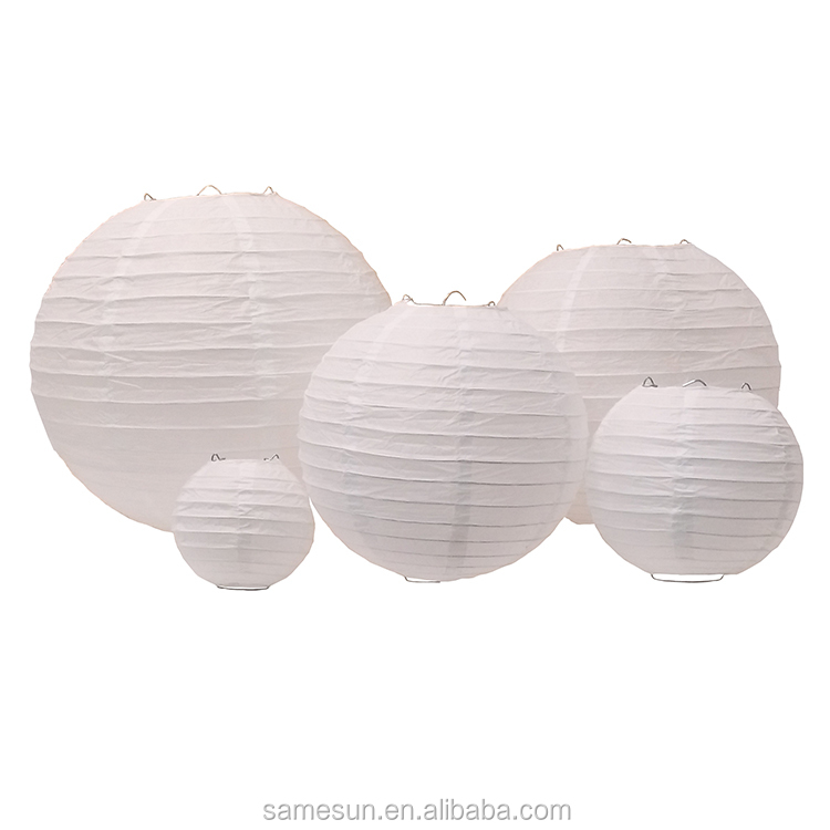 5 Pack White Paper Lanterns For Wedding Party Decoration