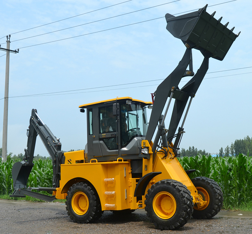 China 4WD 2.5t cheap mini tractor backhoe loader with joystick long telescopic boom mini loader excavator price
