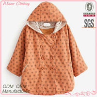 Polka Dot Prints Autumn/spring Wear Fashion Folded Sleeve Double-breasted Lace Embellished Hoodie Blouse
