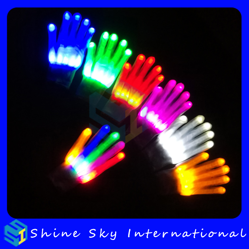 Amazon sellers' choice skull luminous gloves,colorful led glove party and events led toys