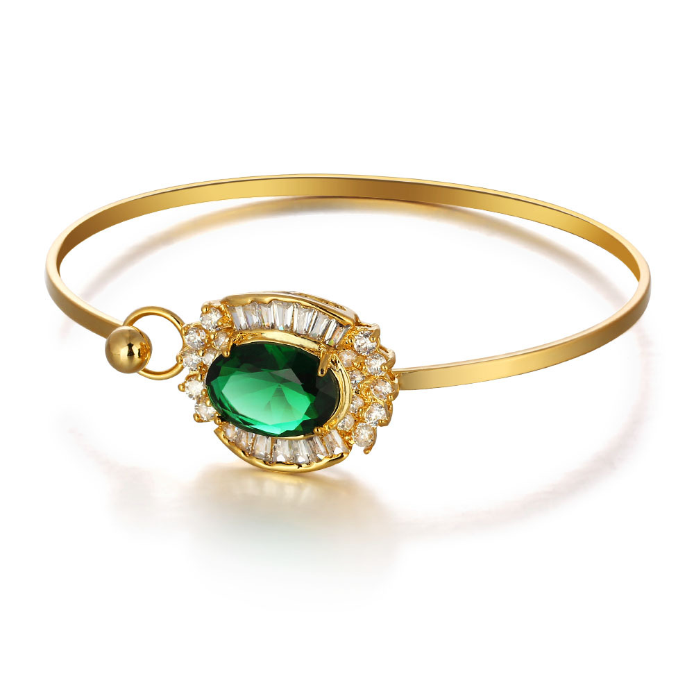 New Premium Products Innovation Environmental Brass 18K Gold Plated Jewelry Duoying Factory Jade Bangle Bracelet with CZ