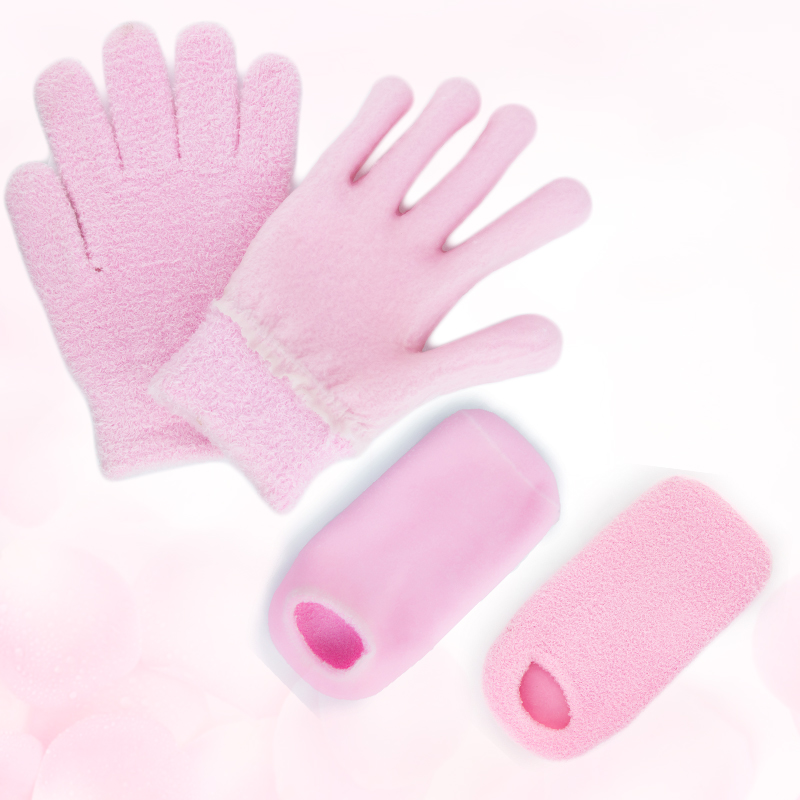 Pink hand moisturizing spa gel gloves and socks for men and women cracked skin