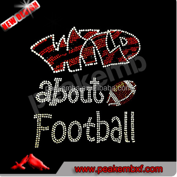 Wild about Football Crystal Stone Iron on Hotfix for sports uniforms