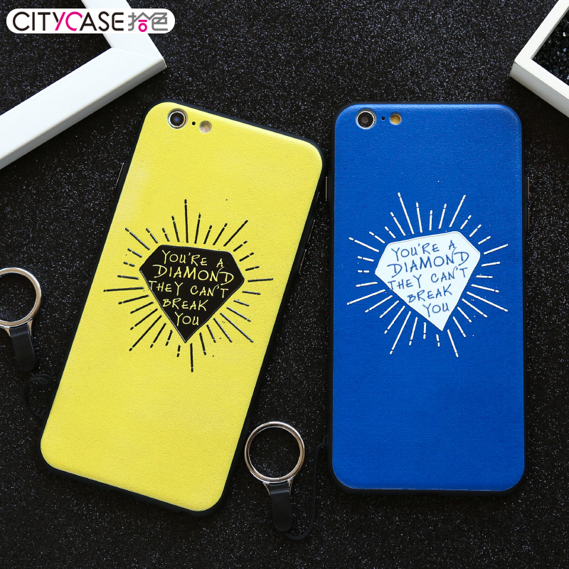 New Design Cellphone 3D Embossed Phone Case cover for iphone 6 6s 6P Print with Diamond and Glasses