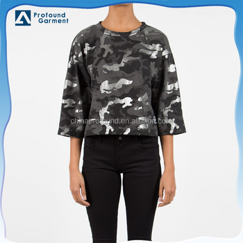 2017 women apparel custom camo printing pattern half sleeve crop blouse shirts