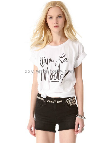 handwriting font casual o neck tee shirts for women