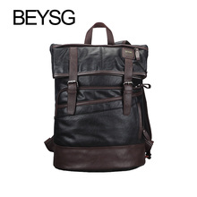 Brand leather Backpack camera Bags Men Pu laptop Bag