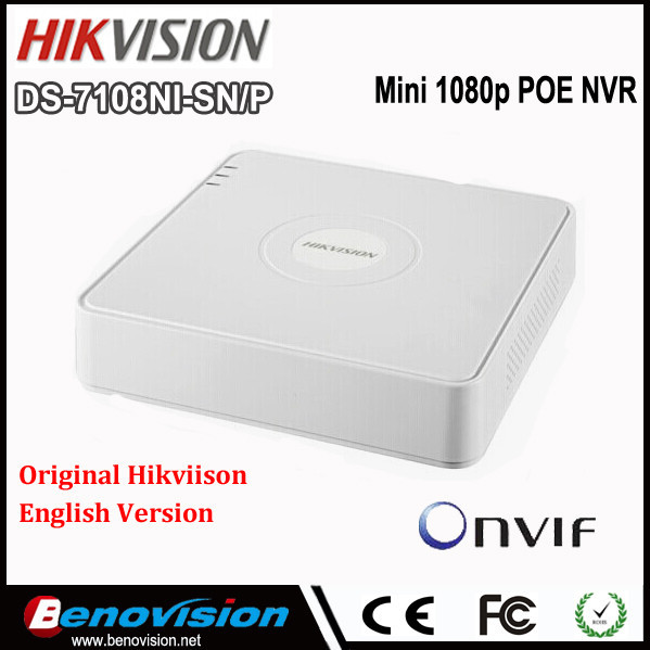 Nvr Hikvision DS-7108NI-SN/P Series 8 Channel 2 MP 25Mbps 2 SATA Interfaces 8 PoE 1U Case Mini NVR 8CH Onvif