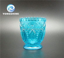 fancy blue glass candle holder made in China