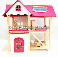 Preschool pink wooden doll house toy