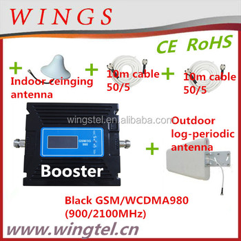 Black GSM/WCDMA980 set mobile signal booster+outdoor log-periodic antenna with 10m cable+indoor ceiling antenna with 10m cable